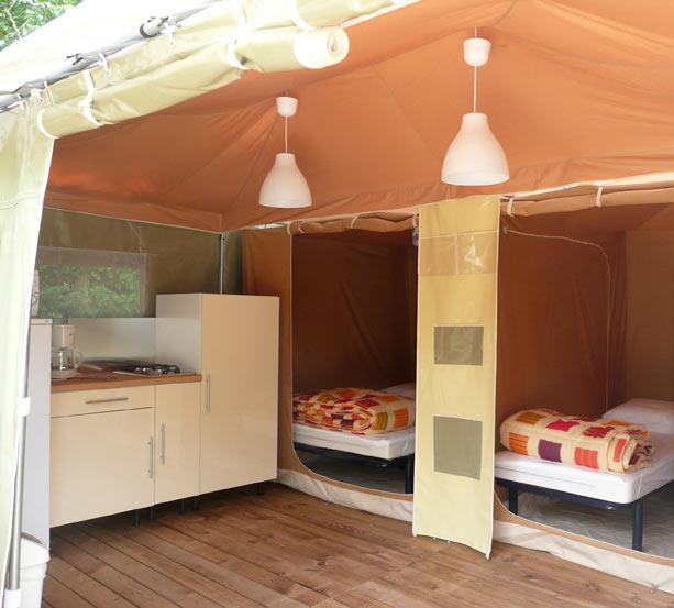 ccuisine et chambres du bungalow